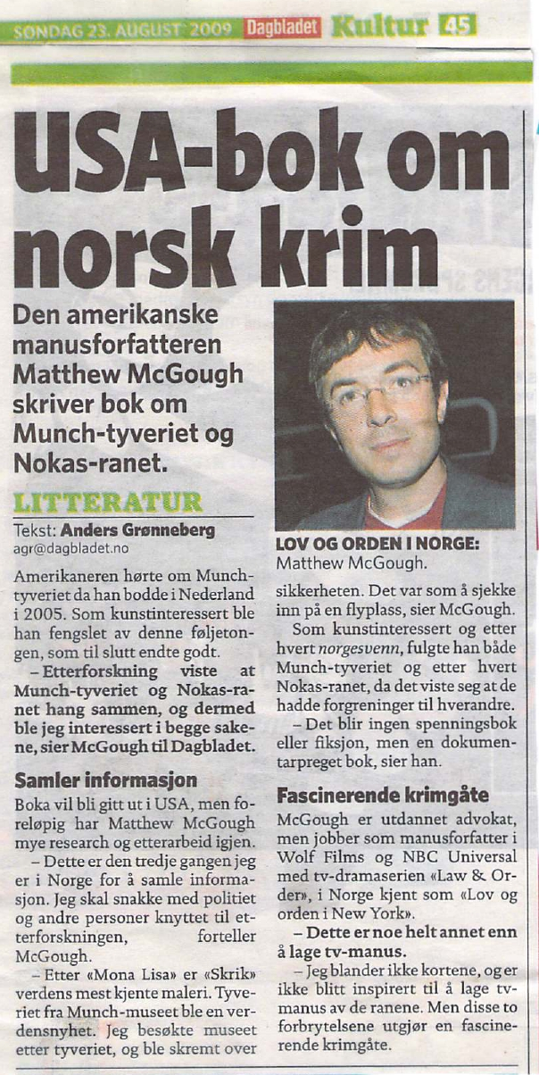 Interview In Dagbladet Newspaper Matthew Mcgough
